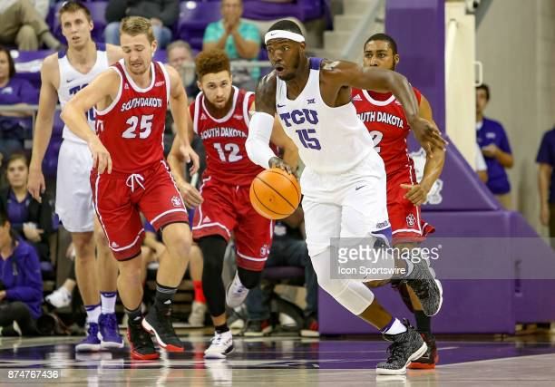 Horned Frogs forward JD Miller brings the ball up the court for a fast break during the game between the South Dakota Coyotes and TCU Horned Frogs on...