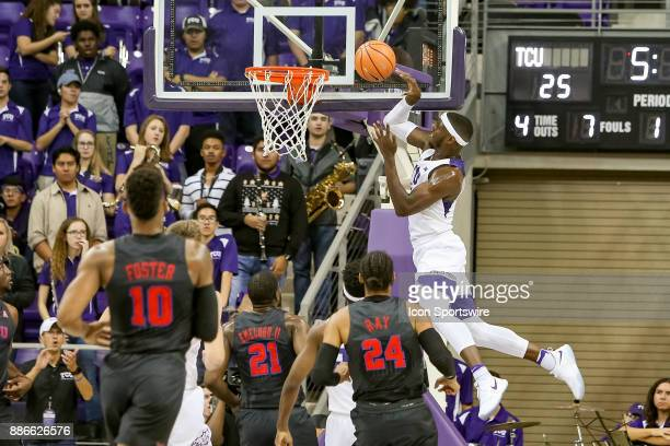Horned Frogs forward JD Miller is handcuffed on an ally oop attempt during the game between the SMU Mustangs and TCU Horned Frogs on December 5 2017...