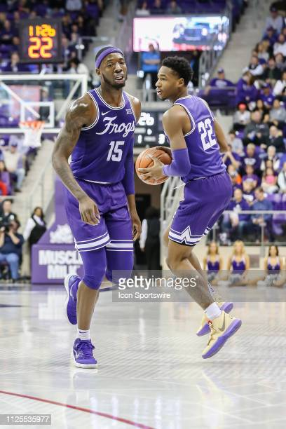 Horned Frogs forward JD Miller passes the basketball to guard RJ Nembhard during the game between the TCU Horned Frogs and the Oklahoma Sooners on...