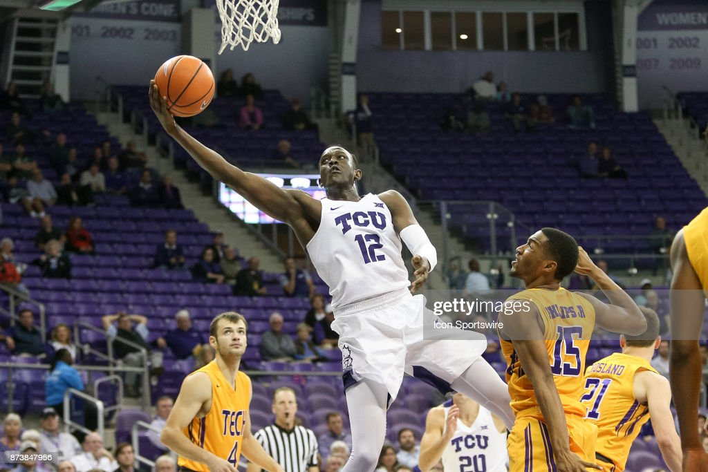 TCU Horned Frogs forward Kouat Noi (12) makes a move to the rim during the game between the Tennessee Tech Golden Eagles and TCU Horned Frogs on November 13, 2017 at Ed & Rae Schollmaier Arena in Fort Worth, TX.