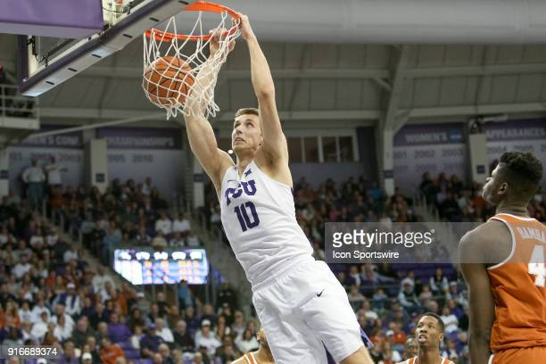 Horned Frogs forward Vladimir Brodziansky dunks the ball during the game between the Texas Longhorns and TCU Horned Frogs on February 10 2018 at Ed...