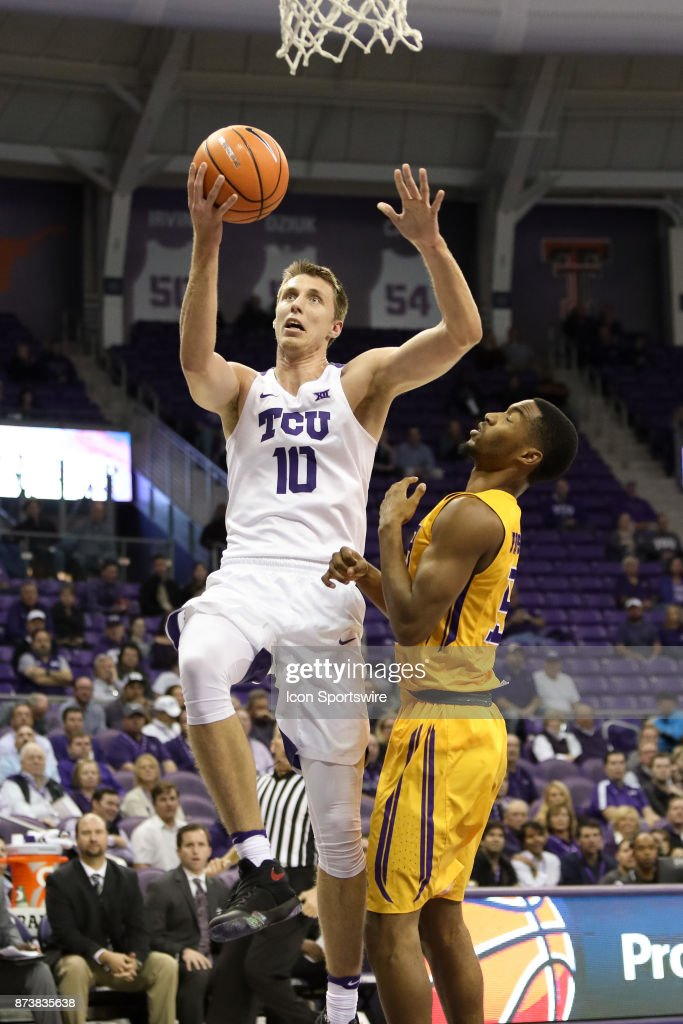 TCU Horned Frogs forward Vladimir Brodziansky (10) goes to the rim during the game between the Tennessee Tech Golden Eagles and TCU Horned Frogs on November 13, 2017 at Ed & Rae Schollmaier Arena in Fort Worth, TX.