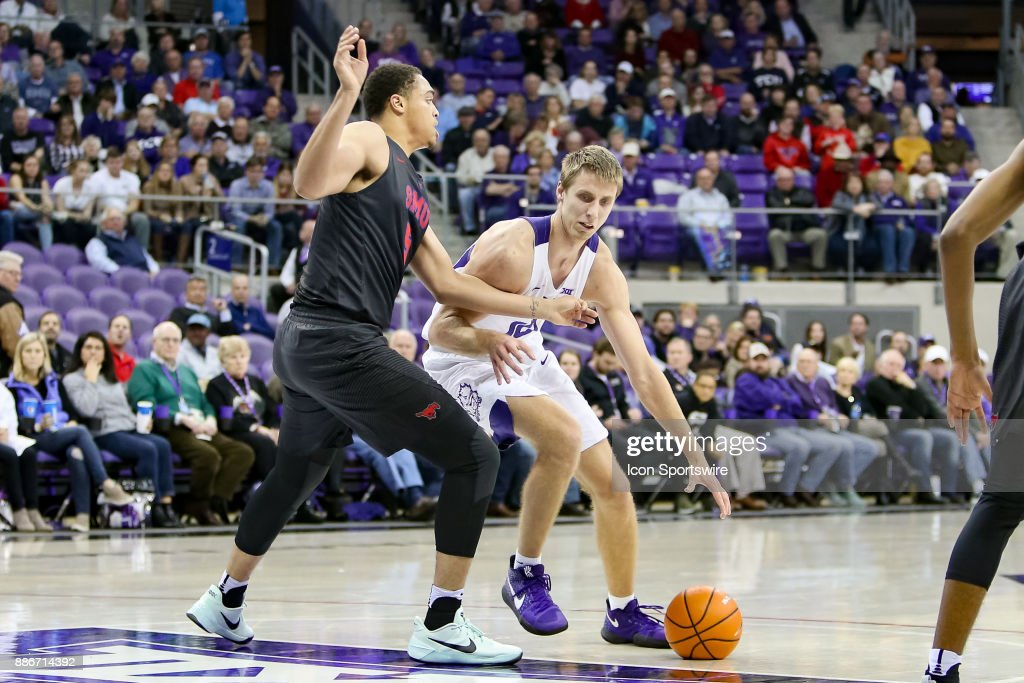 TCU Horned Frogs forward Vladimir Brodziansky (10) handles the ball with Southern Methodist Mustangs forward Ethan Chargois (5) defending during the game between the SMU Mustangs and TCU Horned Frogs on December 5, 2017 at Ed & Rae Schollmaier Arena in Fort Worth, TX.