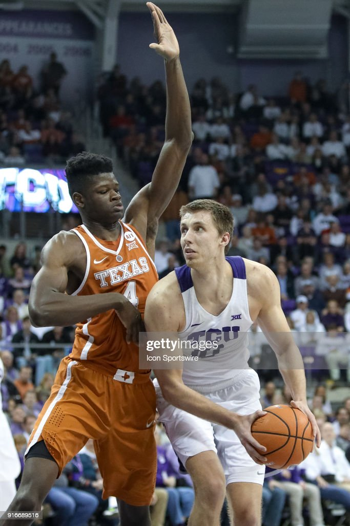TCU Horned Frogs forward Vladimir Brodziansky (10) is guarded by Texas Longhorns forward Mohamed Bamba (4) during the game between the Texas Longhorns and TCU Horned Frogs on February 10, 2018 at Ed & Rae Schollmaier Arena in Fort Worth, TX.