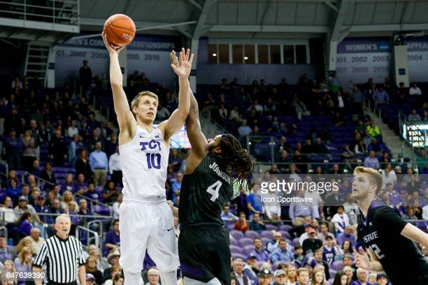 Horned Frogs forward Vladimir Brodziansky shoots over Kansas State Wildcats forward DJ Johnson during the basketball game between Kansas State...