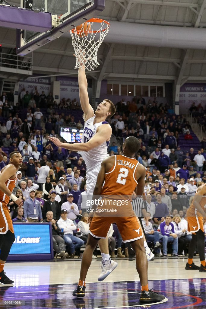 TCU Horned Frogs forward Vladimir Brodziansky (10) stretches for a shot over Texas Longhorns guard Matt Coleman (2) during the game between the Texas Longhorns and TCU Horned Frogs on February 10, 2018 at Ed & Rae Schollmaier Arena in Fort Worth, TX.