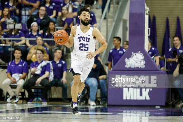 Horned Frogs guard Alex Robinson brings the ball up the court during the basketball game between Kansas State Wildcats and TCU Horned Frogs on March...
