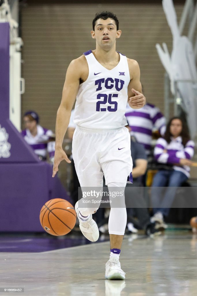 TCU Horned Frogs guard Alex Robinson (25) brings the ball up the court during the game between the Texas Longhorns and TCU Horned Frogs on February 10, 2018 at Ed & Rae Schollmaier Arena in Fort Worth, TX.