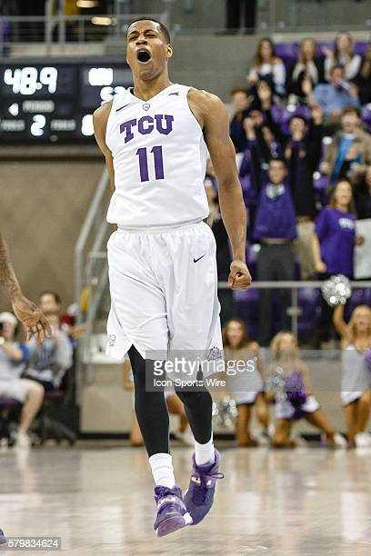Horned Frogs guard Brandon Parrish celebrates after icing the game during the NCAA Basketball game between the Oklahoma State Cowboys and TCU Horned...