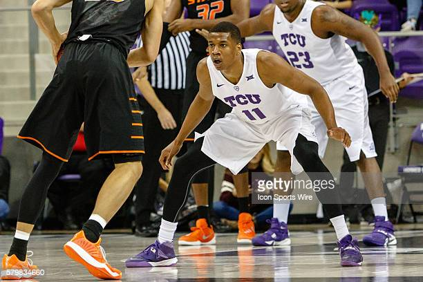 Horned Frogs guard Brandon Parrish defends during the NCAA Basketball game between the Oklahoma State Cowboys and TCU Horned Frogs played at Ed Rae...