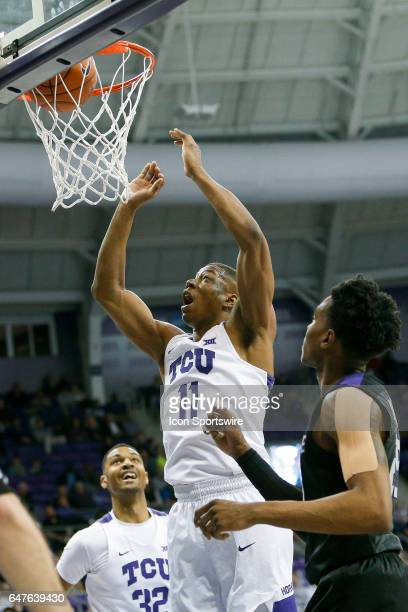 Horned Frogs guard Brandon Parrish lays the ball in during the basketball game between Kansas State Wildcats and TCU Horned Frogs on March 1 2017 at...