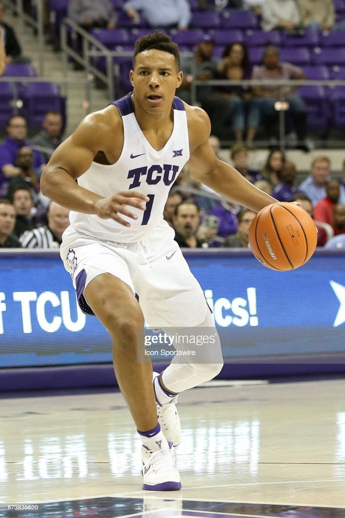 TCU Horned Frogs guard Desmond Bane (1) dribbles towards the lane during the game between the Tennessee Tech Golden Eagles and TCU Horned Frogs on November 13, 2017 at Ed & Rae Schollmaier Arena in Fort Worth, TX.