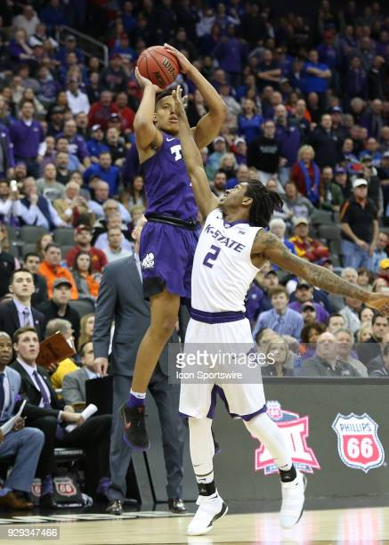 Horned Frogs guard Desmond Bane hits a three to tie as the clock expires in regulation of a quarterfinal game in the Big 12 Basketball Championship...