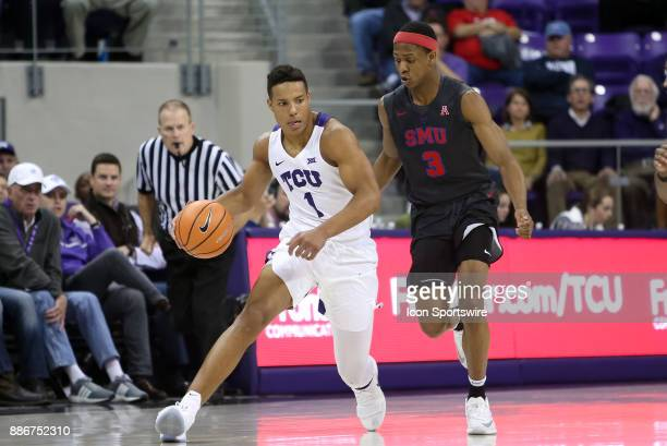 Horned Frogs guard Desmond Bane is trailed by Southern Methodist Mustangs guard William Douglas during the game between the SMU Mustangs and TCU...