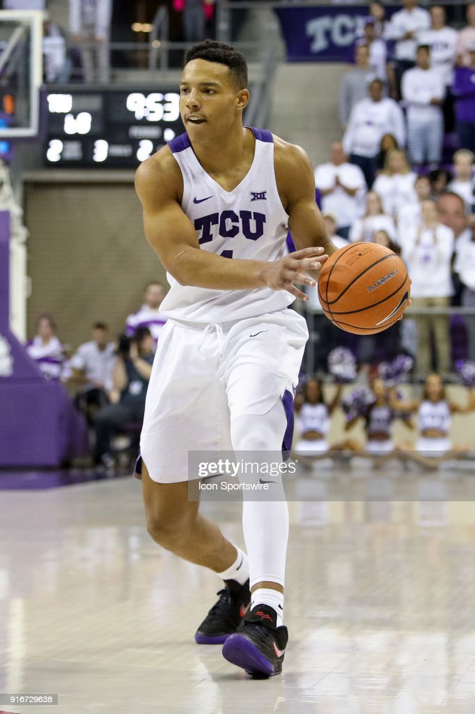 TCU Horned Frogs guard Desmond Bane (1) looks to make a pass during the game between the Texas Longhorns and TCU Horned Frogs on February 10, 2018 at Ed & Rae Schollmaier Arena in Fort Worth, TX.