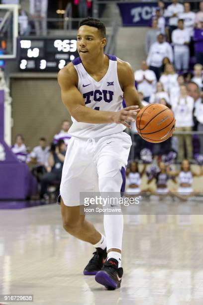 Horned Frogs guard Desmond Bane looks to make a pass during the game between the Texas Longhorns and TCU Horned Frogs on February 10 2018 at Ed Rae...