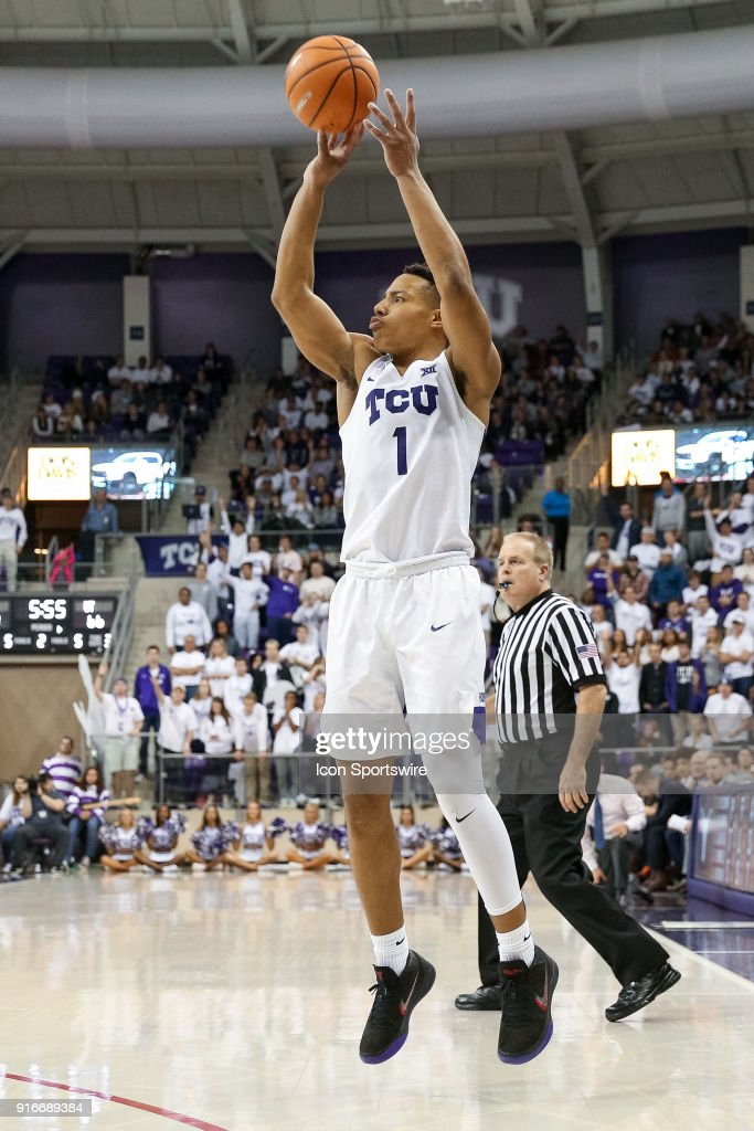 TCU Horned Frogs guard Desmond Bane (1) shoots a three point shot during the game between the Texas Longhorns and TCU Horned Frogs on February 10, 2018 at Ed & Rae Schollmaier Arena in Fort Worth, TX.