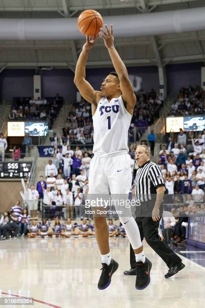 Horned Frogs guard Desmond Bane shoots a three point shot during the game between the Texas Longhorns and TCU Horned Frogs on February 10 2018 at Ed...