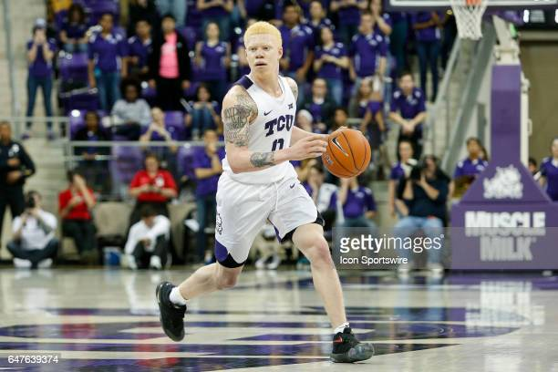 Horned Frogs guard Jaylen Fisher brings the ball up the court during the basketball game between Kansas State Wildcats and TCU Horned Frogs on March...