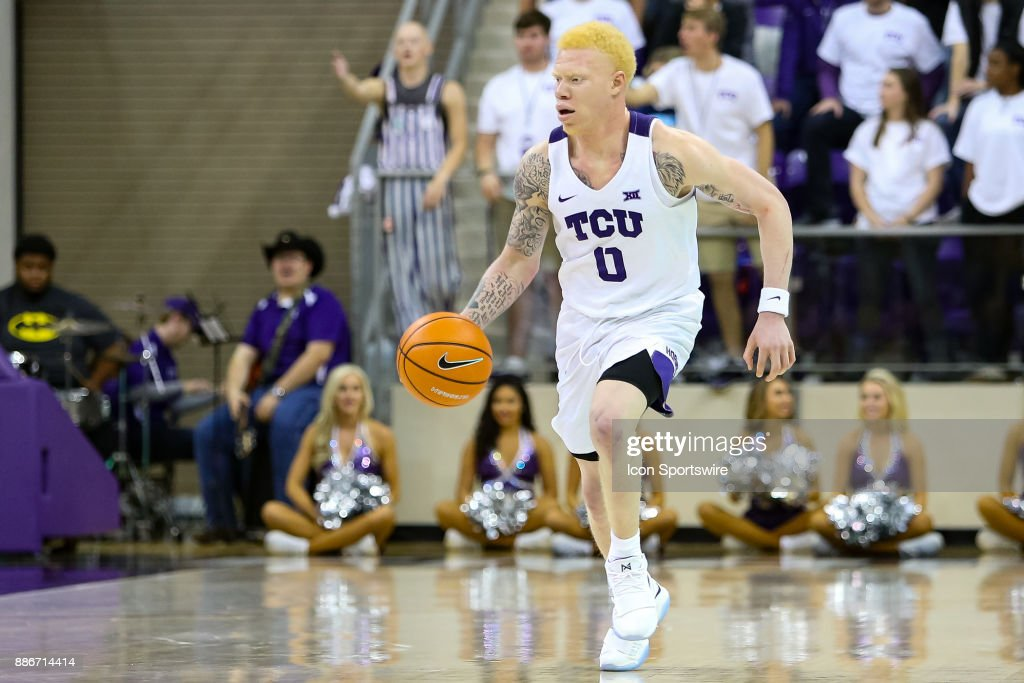 TCU Horned Frogs guard Jaylen Fisher (0) brings the ball up the court during the game between the SMU Mustangs and TCU Horned Frogs on December 5, 2017 at Ed & Rae Schollmaier Arena in Fort Worth, TX.