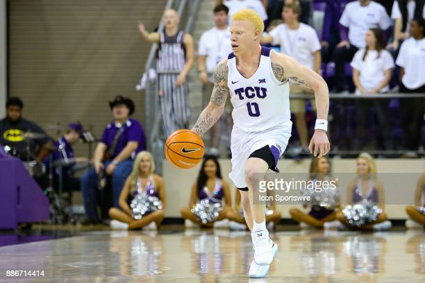 Horned Frogs guard Jaylen Fisher brings the ball up the court during the game between the SMU Mustangs and TCU Horned Frogs on December 5 2017 at Ed...