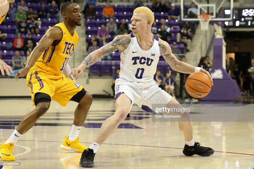 TCU Horned Frogs guard Jaylen Fisher (0) handles the ball during the game between the Tennessee Tech Golden Eagles and TCU Horned Frogs on November 13, 2017 at Ed & Rae Schollmaier Arena in Fort Worth, TX.