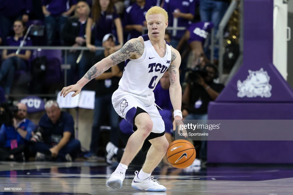 TCU Horned Frogs guard Jaylen Fisher (0) handles the ball during the game between the SMU Mustangs and TCU Horned Frogs on December 5, 2017 at Ed & Rae Schollmaier Arena in Fort Worth, TX.