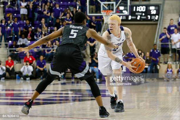 Horned Frogs guard Jaylen Fisher is guarded by Kansas State Wildcats guard Barry Brown during the basketball game between Kansas State Wildcats and...