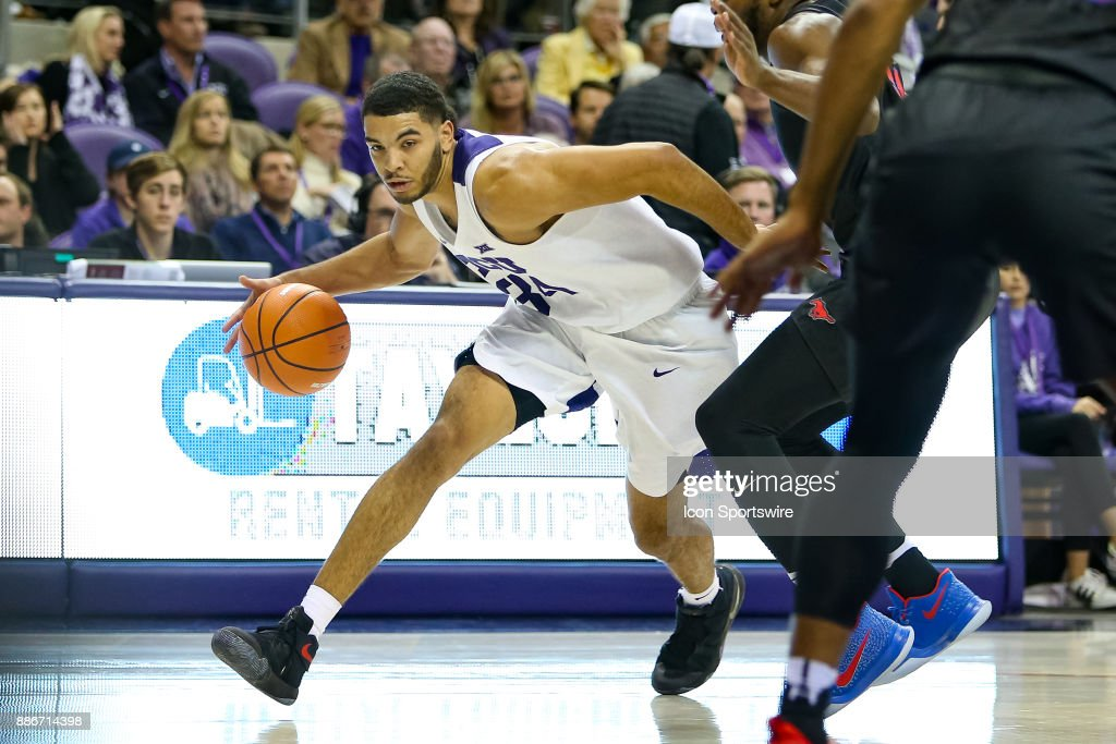 TCU Horned Frogs guard Kenrich Williams (34) ball handles during the game between the SMU Mustangs and TCU Horned Frogs on December 5, 2017 at Ed & Rae Schollmaier Arena in Fort Worth, TX.