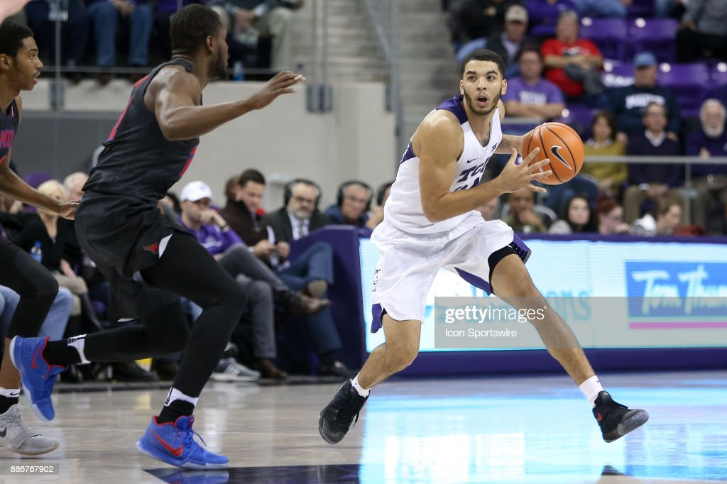 TCU Horned Frogs guard Kenrich Williams (34) handles the ball during the game between the SMU Mustangs and TCU Horned Frogs on December 5, 2017 at Ed & Rae Schollmaier Arena in Fort Worth, TX.