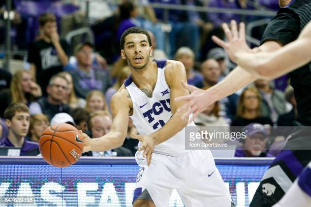 Horned Frogs guard Kenrich Williams makes a bounce pass during the basketball game between Kansas State Wildcats and TCU Horned Frogs on March 1 2017...