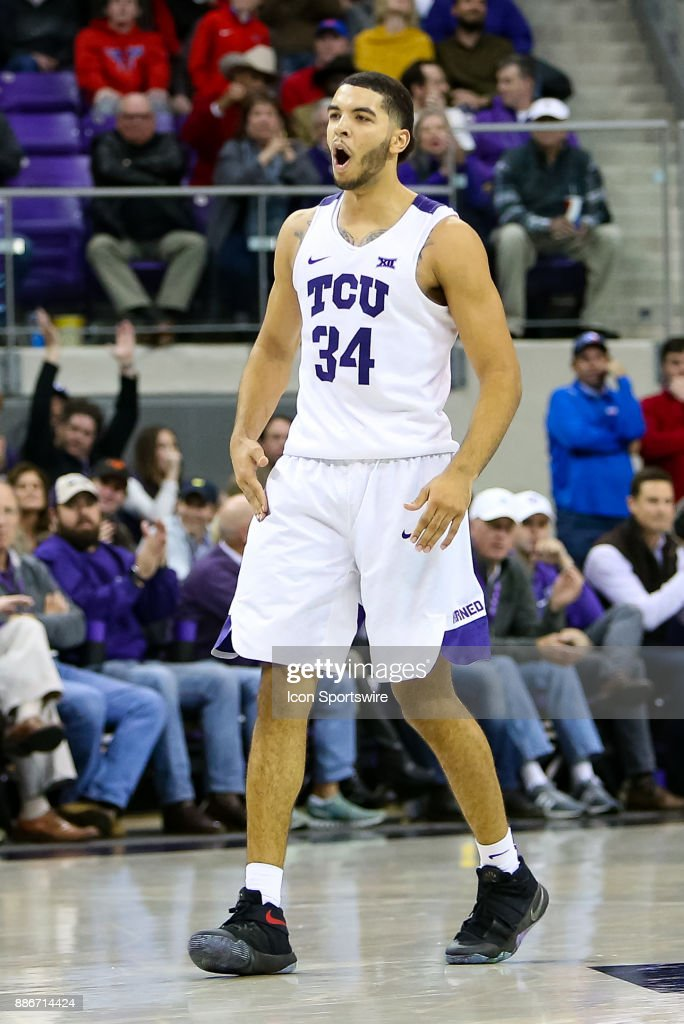 TCU Horned Frogs guard Kenrich Williams (34) reacts after hitting a 3-pointer during the game between the SMU Mustangs and TCU Horned Frogs on December 5, 2017 at Ed & Rae Schollmaier Arena in Fort Worth, TX.