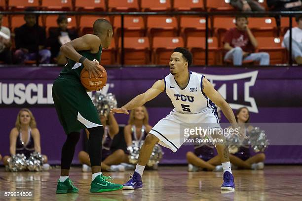 Horned Frogs guard Kyan Anderson plays defense on Mississippi Valley State Delta Devils guard Jordan Washington during the NCAA basketball game...