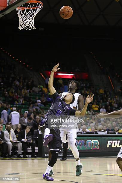 Horned Frogs guard Kyan Anderson puts up a wild shot during the NCAA basketball game between the TCU Horned Frogs and the Baylor Bears played at the...
