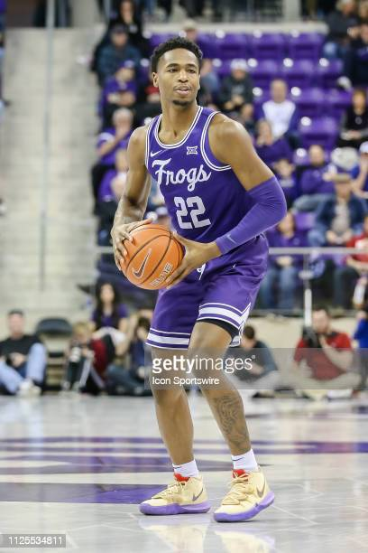 Horned Frogs guard RJ Nembhard looks to pass the basketball during the game between the TCU Horned Frogs and the Oklahoma Sooners on February 16 2019...