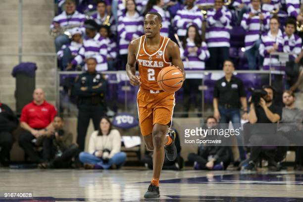 Horned Frogs guard Shawn Olden brings the ball up the court during the game between the Texas Longhorns and TCU Horned Frogs on February 10 2018 at...