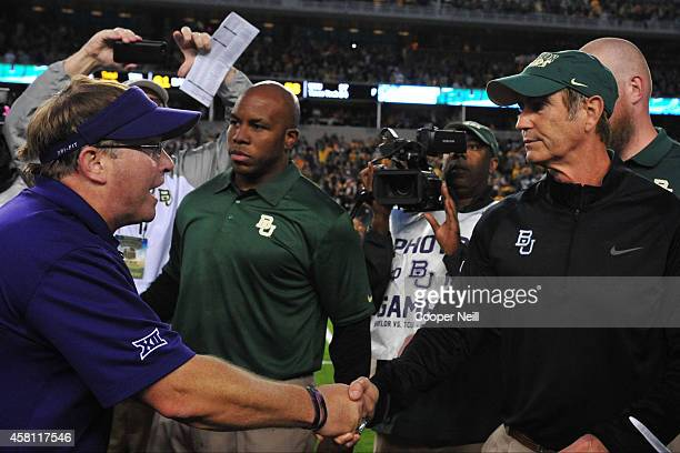 Horned Frogs head coach Gary Patterson and Baylor Bears head coach Art Briles shake hands after the game on October 11, 2014 at McLane Stadium in...