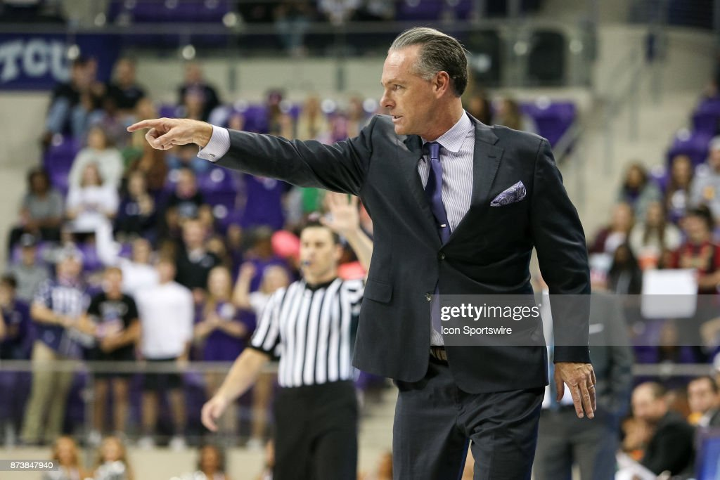 TCU Horned Frogs head coach Jamie Dixon gestures to his team during the game between the Tennessee Tech Golden Eagles and TCU Horned Frogs on November 13, 2017 at Ed & Rae Schollmaier Arena in Fort Worth, TX.