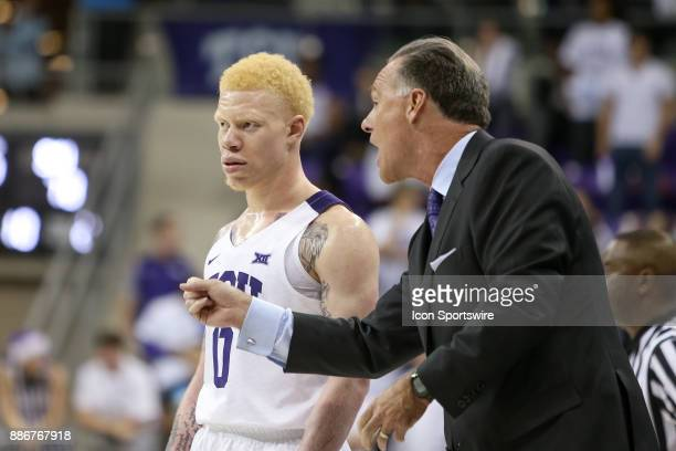 Horned Frogs head coach Jamie Dixon gives guard Jaylen Fisher directions during the game between the SMU Mustangs and TCU Horned Frogs on December 5...