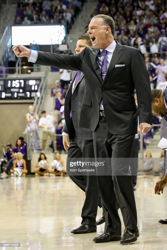 TCU Horned Frogs head coach Jamie Dixon reacts during the game between the SMU Mustangs and TCU Horned Frogs on December 5, 2017 at Ed & Rae Schollmaier Arena in Fort Worth, TX.