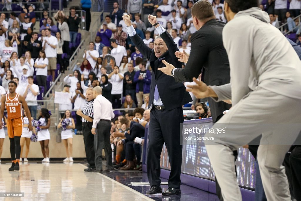 TCU Horned Frogs head coach Jamie Dixon signals to his team from the sideline during the game between the Texas Longhorns and TCU Horned Frogs on February 10, 2018 at Ed & Rae Schollmaier Arena in Fort Worth, TX.