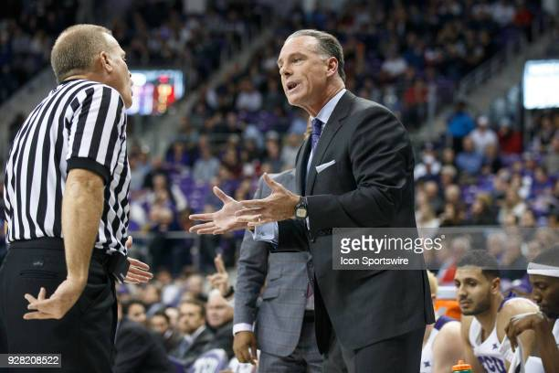 Horned Frogs head coach Jamie Dixon talks to the referee during the college basketball game between the TCU Horned Frogs and the SMU Mustangs on...
