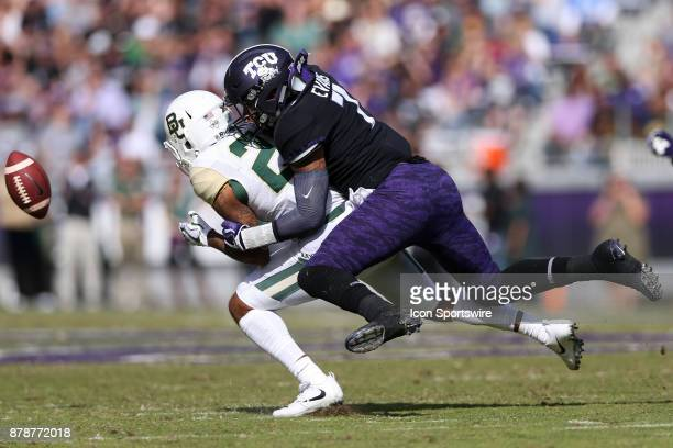 Horned Frogs linebacker Arico Evans breaks up a pass intended for Baylor Bears running back Trestan Ebner during the football game between the Baylor...