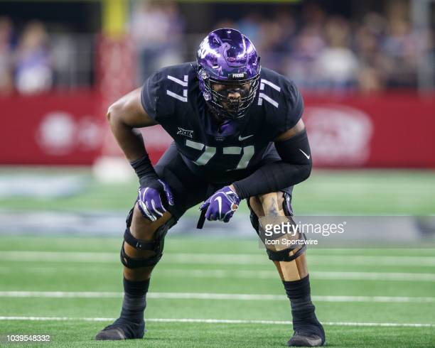 Horned Frogs offensive tackle Lucas Niang prepares for the snap during the Advocare Showdown college football game between the Ohio State Buckeyes...