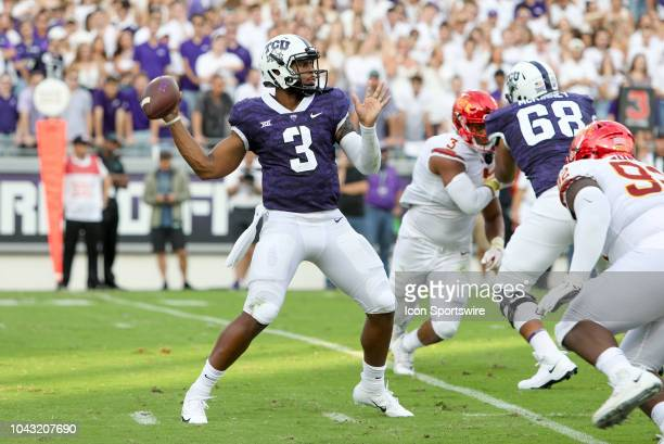 Horned Frogs quarterback Shawn Robinson drops back to pass during the game between the TCU Horned Frogs and Iowa State Cyclones on September 29 2018...