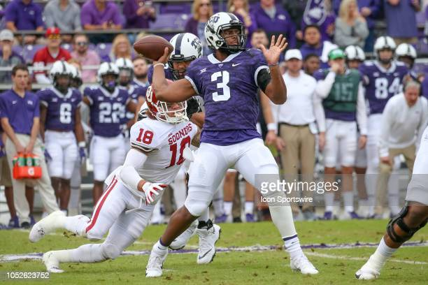 Horned Frogs quarterback Shawn Robinson drops back to pass during the game between the Oklahoma Sooners and TCU Horned Frogs on October 20 2018 at...