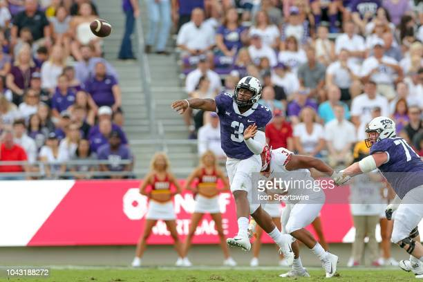 Horned Frogs quarterback Shawn Robinson throws a pass during the game between the TCU Horned Frogs and Iowa State Cyclones on September 29 2018 at...