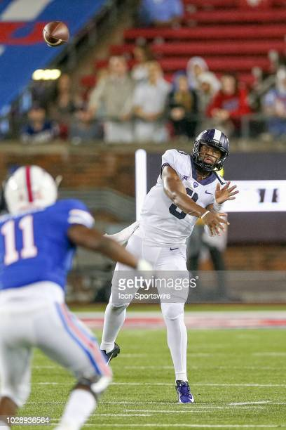 Horned Frogs quarterback Shawn Robinson throws a pass during the football game between the TCU Horned Frogs and SMU Mustangs on September 7 2018 at...