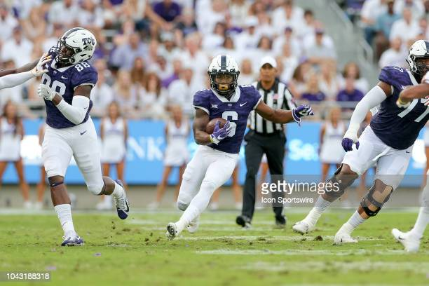 Horned Frogs running back Darius Anderson breaks free on a rush during the game between the TCU Horned Frogs and Iowa State Cyclones on September 29...