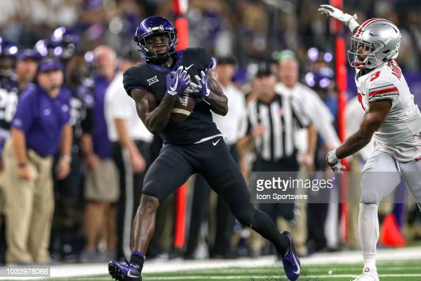 Horned Frogs wide receiver Jalen Reagor makes a reception during the AdvoCare Showdown between the TCU Horned Frogs and Ohio State Buckeyes on...